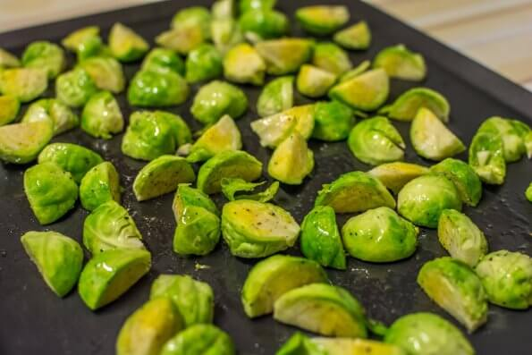 Brussels sprouts on oven tray