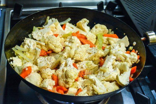 Cauliflower in a wok