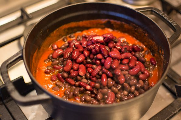 Beans on chili